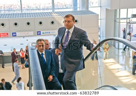 KHARKOV, UA - AUGUST 28: Michail Dobkin celebrates the opening of a new terminal at the Kharkov airport AUGUST 28, 2010 in Kharkov, Ukraine