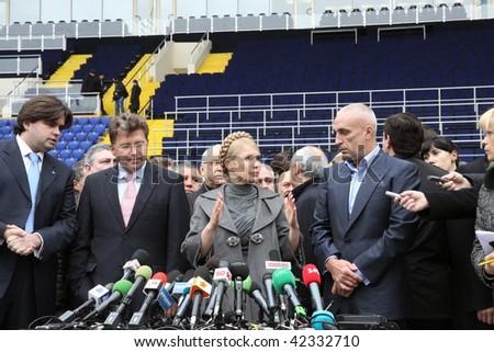 KHARKOV, UKRAINE - DECEMBER 5: Prime-minister of Ukraine, Yuliya Timoshenko visit within Metalist soccer stadium opening ceremony. December 5, 2009 in Kharkov, Ukraine