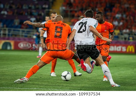 KHARKOV, UKRAINE - JUNE 08: Netherlands vs Denmark in action during football match in European soccer league (0:1), June 08, 2012 in Kharkov, Ukraine