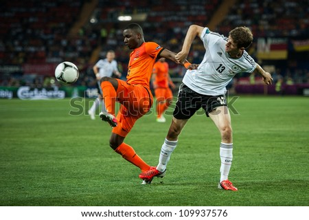 KHARKOV, UKRAINE - JUNE 08: Netherlands vs Denmark in action during football match in European soccer league (0:1), June 08, 2012 in Kharkov, Ukraine