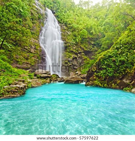 Khe Kem Waterfall. Pu mat national park. Vietnam