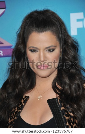 "Khloe Kardashian Odom at the press conference for the season finale of Fox's ""The X Factor"" at CBS Televison City, Los Angeles. December 17, 2012  Los Angeles, CA Picture: Paul Smith - stock photo"