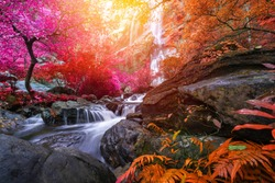Khlong Lan waterfall is a beautiful Waterfalls in the rain forest jungle Thailand.