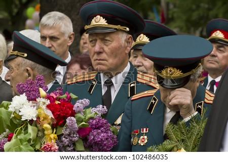 KHMELNITSKY, UKRAINE - MAY 9: Ukrainian veterans of the Great Patriotic War Victory Day is celebrated in May, 09 2012 in Khmelnitsky, Ukraine