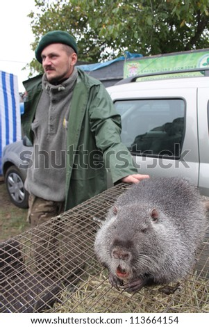 KHMELNITSKY, UKRAINE - SEPTEMBER 22: Unidentified person sells an otter at the yearly annual fair on September 22, 2012 in Khmelnitsky, Ukraine.