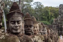 Khmer warrior head bridge Angkor Wat, Cambodia