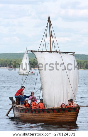 Khohlovka, Russia - 4 August, 2012. Reconstructed ancient boat under open sky in Khokhlovka.