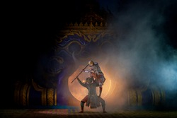 Khon is a dance drama genre from Thailand. This has been performed since the Ayutthaya Kingdom. Khon is traditional dance drama art of Thai classical masked, Scene of performance is Ramayana epic.