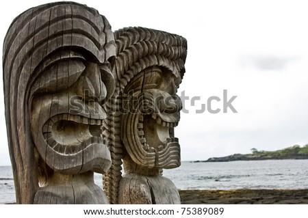 Ki'i in Pu'uhonua O Honaunau National Historical Park