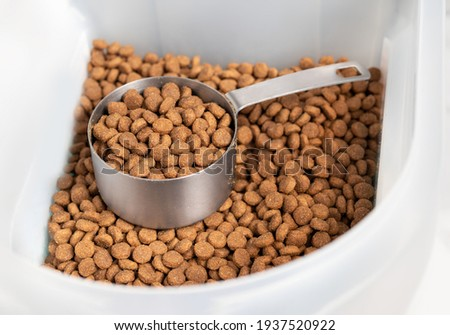Kibbles with measuring cup inside larger food storage bucket. 1 cup dry pet or dog food portioned out for a medium to large dogs feeding time. Isolated on white. Selective focus.