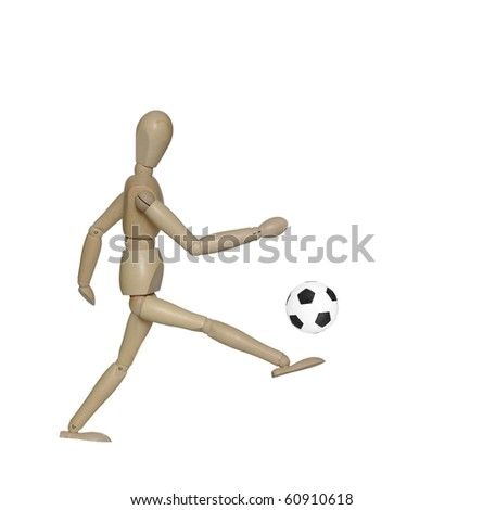 kicking foot  ball dummy on white background