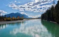 Kicking Horse River scenic view in autumn. Golden. British Columbia. Canada.