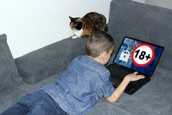 kid, a boy lies on the couch in front of an open laptop, technological background on display and sign for adults only, cat is sitting nearby and watching, concept of content prohibited for children