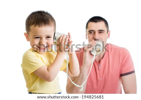 Kid and dad having a phone call with tin cans