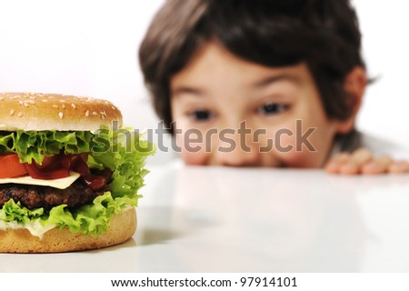 Kid and hamburger