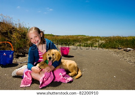 kid and her dog