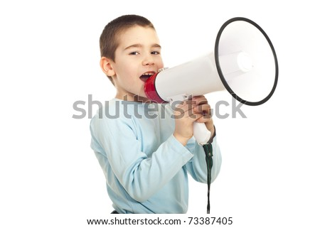 Kid boy shouting in a megaphone isolated on white background