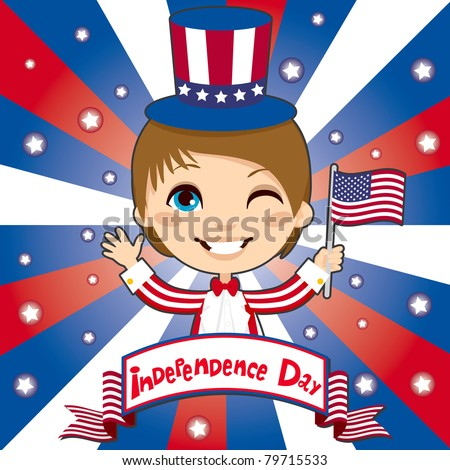 Kid celebrating United States of America Independence Day wearing a Uncle Sam costume and holding a flag