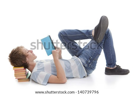 kid child student or boy reading book