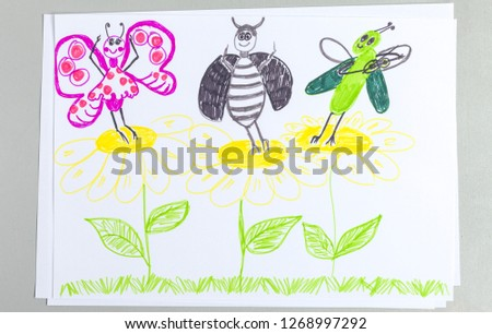 Kid doodle of insects dancing and having fun on flowers - colorful scribble child picture of grasshopper playing violin and butterfly and bug dancing on chamomile on white background.