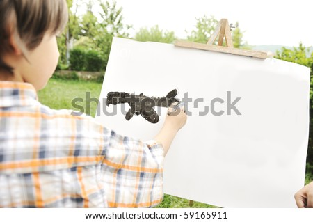 Kid drawing and painting outdoor