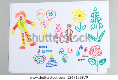 Kid drawings set of birthday party elements isolated on white background - colorful child scribble of cute clown and people in festive clothes, holiday cake and balloons.