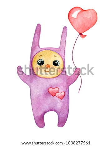 Kid dressed in lilac costume of rabbit holding red balloon in shape of heart. Watercolor illustration isolated on white. #1038277561