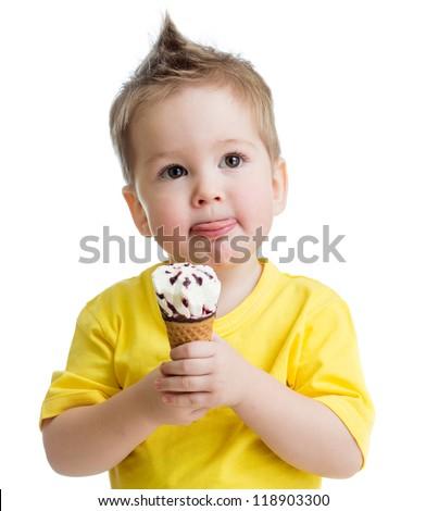 kid eating ice cream isolated on white