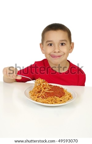 Kid eating spaghetti, isolated on white background