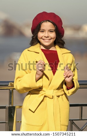 Kid fashion look. Autumn trend. happy little girl. little girl. Spring weather. Stylish child in parisian beret and coat. Glamour fashion model. Beauty and fashion. Autumn style. Fashion is her life. #1507345211