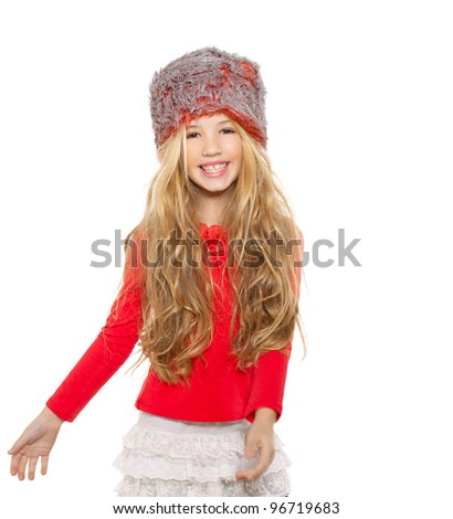 kid girl winter dancing with red shirt and fur hat on white background