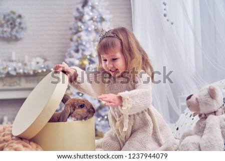 kid got a pet for Christmas. the children's room is decorated with a Christmas tree. happy child opens the gift box. delight and surprise at the surprise. in the new year dreams come true. calibration #1237944079