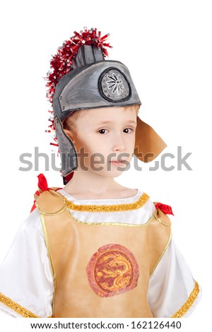 kid in the costume of the roman legionary