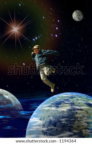 Kid Jumping from earth - stock photo