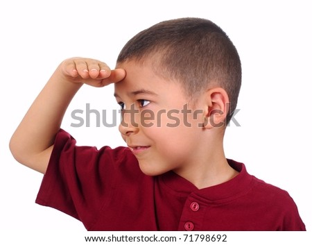 kid looking at a distance with eyes shaded, isolated on white background