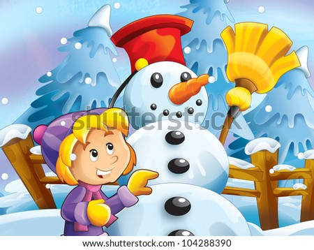 Kid making happy and big snowman