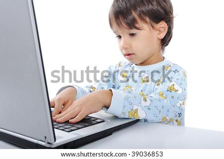 Kid on laptop - stock photo