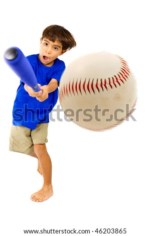 Kid playing baseball. Studio Shot