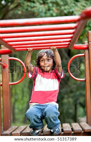 Kid playing on the monkey bars at the park