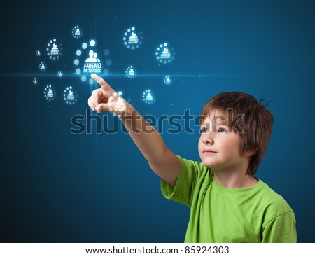 kid pressing modern social buttons on a virtual background - stock photo