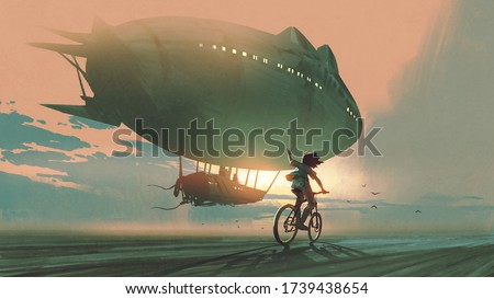 kid rides a bicycle waving good bye to the airship at sunset, digital art style, illustration painting Foto stock ©