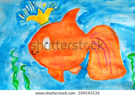kid`s drawing of a fantasy goldfish painted with aquarelle