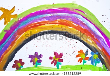 kid's drawing with flowers and...
