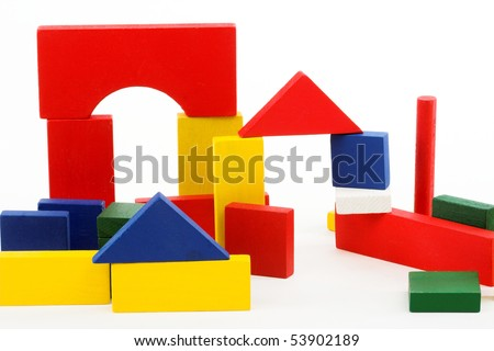 Kid's game - wooden blocks over white
