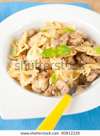 Kid's meal of Pasta and Chicken with Herbs