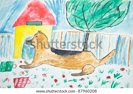 Kid's painting of dog