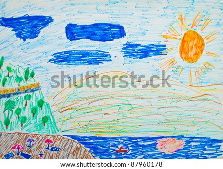 Kid's painting of holiday landscape - Sea,sky and beach