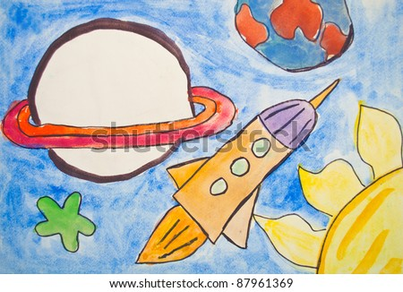 Kid's painting of universe with planets and stars