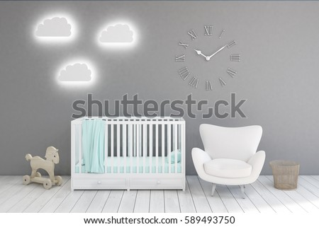 Kidâ??s room with a crib, a white armchair, a horse toy and cloud shaped lamps. Clocks are hanging on a gray wall. 3d rendering.