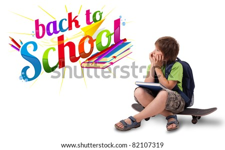 Kid sitting on skateboard with back to school theme isolated on white